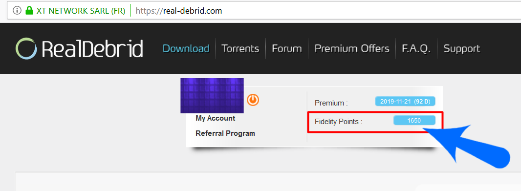 Real Debrid Convert Fidelity Points to Free Days -